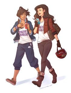 I can see Korra and Asami going to a concert together. Korra would totally love Imagine Dragons. Asami Sato, Korra Avatar, Team Avatar, Avatar Airbender, Imagine Dragons Shirt, Harley Quinn, Bff, Besties, Avatar Series