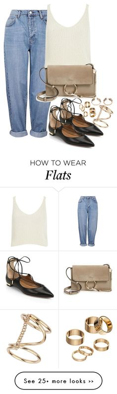 """Untitled #448"" by fayeedaly on Polyvore featuring Topshop, River Island, Aquazzura, Chloé and Apt. 9"