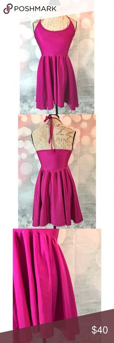 American Apparel Nylon Tricot Figure Dress Pink AA Figure Dress in one of their best styles! Pink magenta colored shiny dress that is perfect for a night out! New without tags & size M, can fit smaller. A sold out style, Ret. $52. American Apparel Dresses Mini