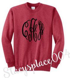 monogrammed sweater, monogrammed sweatshirt, monogrammed cre neck sweater, Heather red