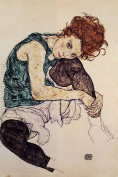 Egon Schiele Seated Woman with Bent Knee hand painted oil painting reproduction on canvas by artist Dessins Egon Schiele, Egon Schiele Drawings, Art And Illustration, Egon Schiele Zeichnungen, Coin D'art, Pink Floyd Art, Art Corner, Inspiration Art, Oil Painting Reproductions