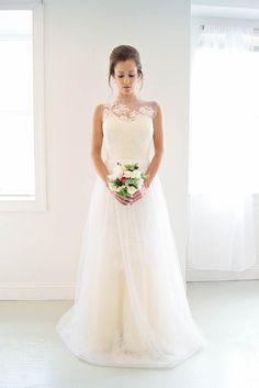 Tulle wedding gown with lace applique neckline  - Charlotte | Emily Kotarski Bridal