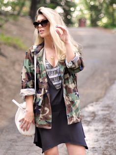 Camo Jacket | Camouflage Heart  #Studded #Totes #Graphic #Dresses #Military #Jackets