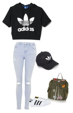 """School outfit #1"" by caittie on Polyvore featuring mode, adidas en Topshop"