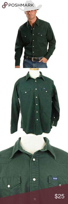 a9a8f298 Wrangler Cowboy Work Shirt MS70518 XL You are buying Wrangler Men's Shirt  Size XL Green MS70519