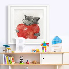Woodland Animals, Nursery Decor, Baby Shower Gift, Custom Name, Wolf painting, Forest Animals , Nursery Art,New Baby Gift,First Anniversary.