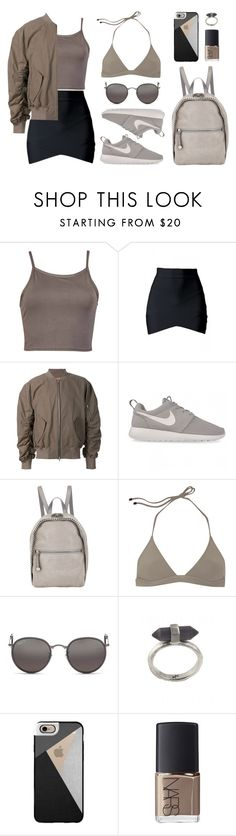 """""""Color scheme"""" by baludna ❤ liked on Polyvore featuring NIKE, STELLA McCARTNEY, T By Alexander Wang, Ray-Ban, Karen Kane, Casetify and NARS Cosmetics"""