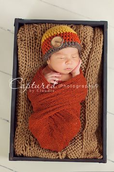 Love the color combo!  Newborn Boys Crochet Fall Beanie with Wood Button - Mustard Orange and Barley Hat - Photography Prop. $21.00, via Etsy.