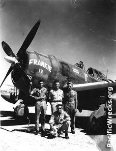 Frankie IV ... pilot Sam Blair (center) and my father (kneeling) crew chief and armorer.