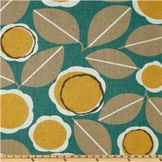 Robert Allen Modernista, Amber via Fabric.com | gorgeous silkscreened retro fabric with teal, tan and pops of mustard yellow.