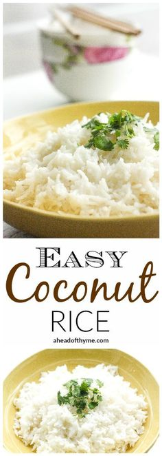 Easy Coconut Rice: Amazing, aromatic coconut flavours emanates from this perfect, easy coconut rice, making it the perfect side dish to almost all Thai and South Asian dish | http://aheadofthyme.com
