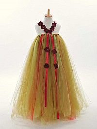 Multicolor Tulle Flower Girl Dress with Ribbon Embellishment