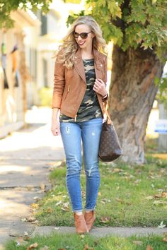 Camel & Camo: Michael Kors quilted tan leather moto jacket with gold hardware, J. Crew vintage camo tee, Paige distressed ankle jeans, Frye camel leather Reina ankle bootie, Louis Vuitton Totally MM tote, camo and leather outfit