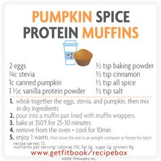 make a batch of these #pumpkin spice #protein muffins ahead, the freeze, grab + go for a pre + post-workout snack on-the-go! #recipe #fastfitfood