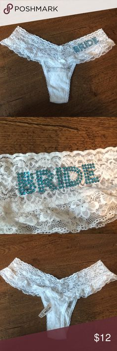 NWT Victoria's Secret Bridal Wedding Shower Panty One size. Brand new with tags. Beautiful white lace with blue rhinestones. Perfect for bride gift! Victoria's Secret Intimates & Sleepwear Panties
