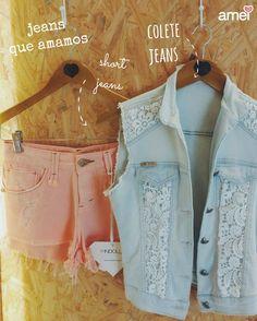Vou de jeans  #lojaamei #jeans #short #colete #lindo