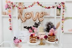 floral cake and dessert cart