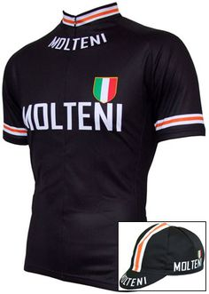 New delivery on 21st February - all sizes back in stock! This retro-inspired Molteni jersey is a modern take on the original stunning team wool long sleeve training top that was issued to the riders in late 1960's. The matching cotton is now also back in stock.