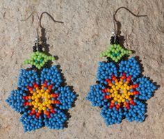 Beautiful Blue Floral Flower Petal Beaded Earrings