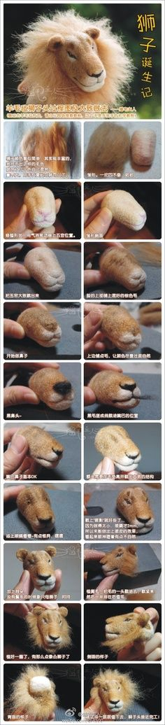 How to make a needle felt lion head Tutorial Needle Felted Animals, Felt Animals, Needle Felting Tutorials, Felt Cat, Felt Hearts, Felt Toys, Wet Felting, Wool Felt, Sculpting