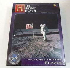 History Channel Apollo 11 Moon Landing Puzzle Pictures in Time 18 x 18 New  #BuffaloGames