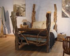 """""""Eco friendly, unique and functional"""" Paxton Hardware, Ltd. Artistic Wood Pieces Design – Rustic Wooden Furniture by SDA Decorations Unique Bed Design – Furniture Design Idea Unique Furniture, Rustic Furniture, Furniture Design, Tree Bed, Rustic Bedding, Wood Beds, Awesome Bedrooms, Decoration, Bed Frame"""