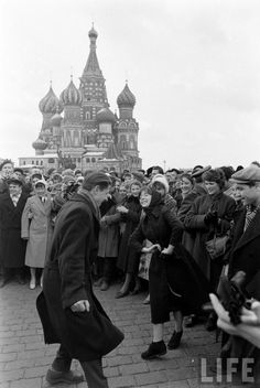 People celebrating the first flight into space on Red Square, 1961.