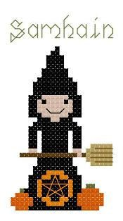 Little Witch Samhain Counted Cross Stitch by crochetcronesdesigns, $3.00