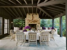 The outdoor dining and sitting area with fireplace!