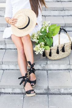 straw hat and bag with wedge sandals