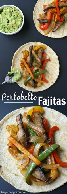 ) EASY and amazing portobello fajitas! So simple to make, and great for weeknight meals (vegan, gluten-free)EASY and amazing portobello fajitas! So simple to make, and great for weeknight meals (vegan, gluten-free) Veggie Dishes, Veggie Recipes, Mexican Food Recipes, Whole Food Recipes, Cooking Recipes, Healthy Recipes, Diet Recipes, Simple Vegetarian Recipes, Clean Eating