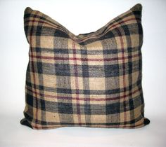 """LOVE, burlap ♥ Thanksgiving brown and maroon plaid gorgeous burlap pillow! Hand wash or gentle cycle. Pillow has a fold over flap closure in back. 18"""" X 18"""", (also available in lumbar). Comes with or without insert. We also have table runners, placemats, and wine bags that coordinate! ♥ https://www.etsy.com/shop/loveburlap"""
