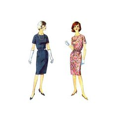 1960s Round Neck Dress Simplicity 5542 Vintage Sewing Pattern