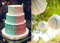 mint green wedding colors ombre wedding cake paper lanterns