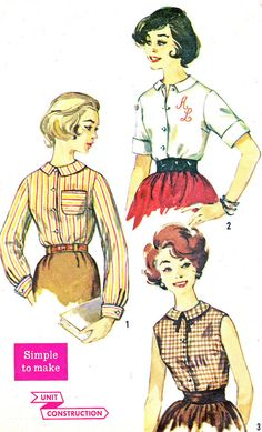 1960s Womens Blouse Pattern Simplicity 3558 Front by paneenjerez, $9.00