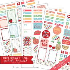 Summer planner stickers - Downloadable Happy Planner Stickers available @lizoncall.com shop