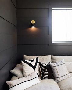 home accents walls Black and brass modern eyeball shade wall sconce over a comfy linen sofa with black shiplap walls. Modern farmhouse decor with edge. Sconces Living Room, Accent Walls In Living Room, Accent Wall Bedroom, Home Living Room, Black Accent Walls, Black Walls, Black Accents, Modern Farmhouse Decor, Country Farmhouse