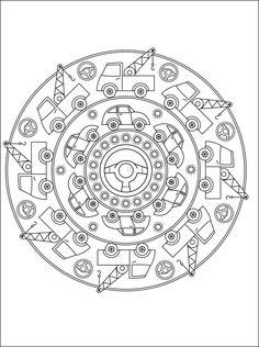 Free Large Mandala Coloring Pages | Free mandala coloring page with cars. Printable page with mandala cars ...