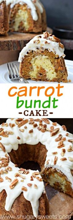 Carrot Bundt Cake with a ribbon of cheesecake swirl and Cream Cheese frosting! Topped with some chopped pecans!
