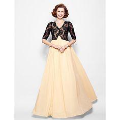 Mère de la robe de mariée - Longueur ras du sol A-line - Col en V (Mousseline polyester/Dentelle) – EUR € 99.99