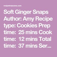 Soft Ginger Snaps Author:Amy Recipe type:Cookies Prep time: 25 mins Cook time: 12 mins Total time: 37 mins Serves:5 dozen  Ingredients 1½ cups butter (softened) 2 cups sugar 2 eggs ½ cup molasses pinch of salt ¾ tsp cloves 1¼ tsps. cinnamon 2 tsps. baking soda 3 tsps. ginger 4½ cups flour * 1 cup sugar for dipping Instructions In a mixing bowl, combine butter, (I used 1 cup butter and ½ cup coconut oil) and sugar; beat until nice and fluffy. Beat in eggs one at a time. Add molasses…