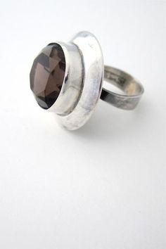 Erik Granit Finland vintage modernist silver and smoky quartz large statement ring 1973 - Nordic design