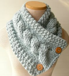 Knit Scarf Cable Cowl Glacier Light Blue $30 #handmade #knitting #scarf #etsy #blue #button #cowl