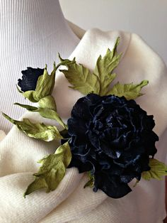 Black Rose Fantasy Flower Leather Brooch. by EmbroiderybyTatiana