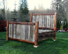 No need to rent out a lodge for the weekend to experience the feel of a great nights sleep in a custom made, rustic, country style bed frame! Made from reclaimed and refinished knotty pine and cedar, Pallet Furniture, Rustic Furniture, Bedroom Furniture, Steel Furniture, Rustic Sofa, Kitchen Furniture, Furniture Ideas, Log Bed Frame, Custom Bed Frame