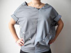 2 chemises assemblées dont les cols servent d'emmanchures et inversement !! 100% UPCYCLING !