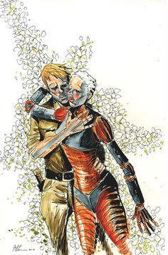 TRILLIUM #4  Written by JEFF LEMIRE  Art and cover by JEFF LEMIRE  On sale NOVEMBER 6 • 32 pg, FC, 4 of 8, $2.99 US • MATURE READERS  Everything Nika and William thought they knew is thrown into question as the world of Trillium is twisted inside out. New universes emerge in the wake of last issue's shocking ending, and William and Nika find themselves more lost than ever!