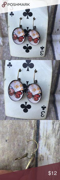 Butterfly pierced earrings brass colorful Pair of butterfly earrings pierced brass finish. Jewelry Earrings