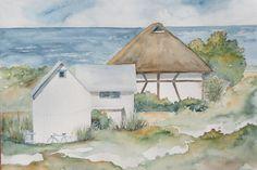 Aquarell - Strandhütten in Hohwacht, Original-Aquarell - ein Designerstück von Giverny bei DaWanda