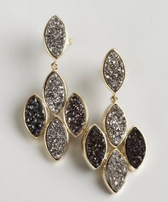 Marcia Moran : silver and black agate druzy marquis cluster earrings